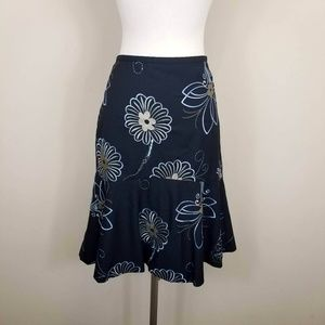 Ann Taylor LOFT Floral Embroidered Flounce Skirt